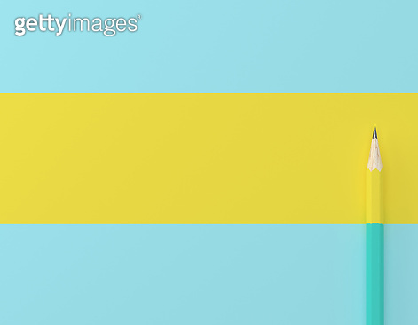 Creative idea layout made of yellow pencil contrast blue pastel background. Minimal template with copy space by top view