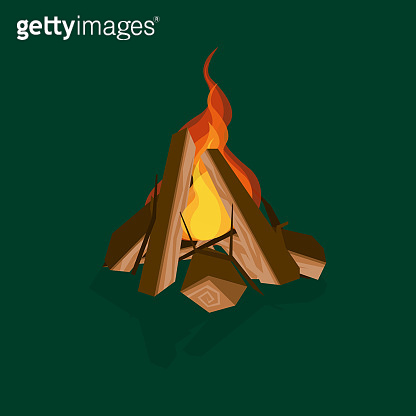 Cartoon Fire Wood and Campfire on a Green. Vector