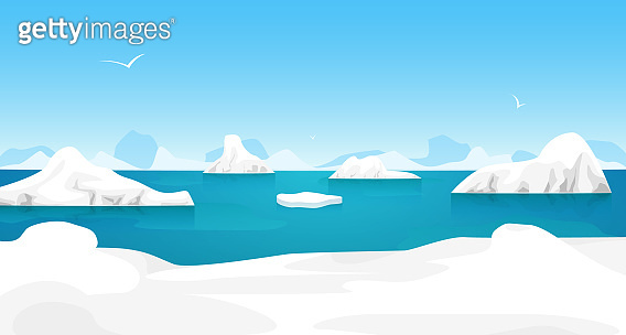 Cartoon Arctic Ice Landscape Outdoor Scene. Vector