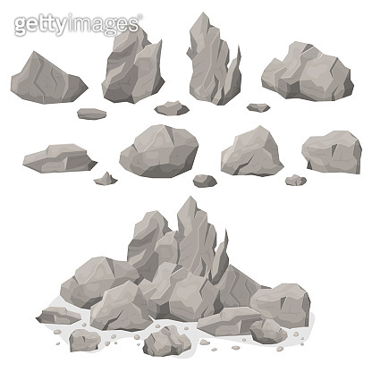 Grey Rock Stones Different Shapes Set. Vector