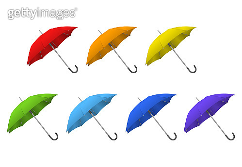 Realistic Detailed 3d Color Blank Umbrella Template Mockup Set. Vector