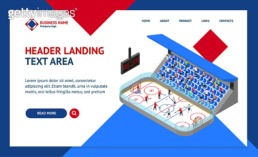 Ice Hockey Arena Competition Concept Landing Web Page Template 3d Isometric View. Vector
