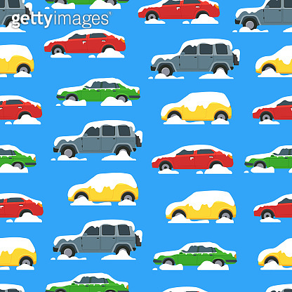 Cartoon Color Cars Covered Snow Seamless Pattern Background. Vector