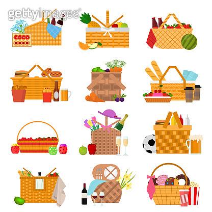 Cartoon Color Picnic Baskets Icon Set. Vector