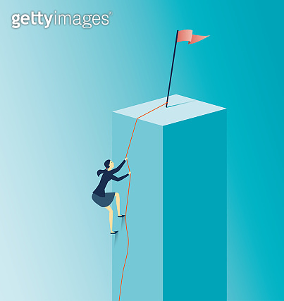 Businesswoman climbing a graph . - Achievement concept