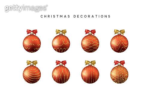 Xmas set balls red color. Christmas bauble decoration elements