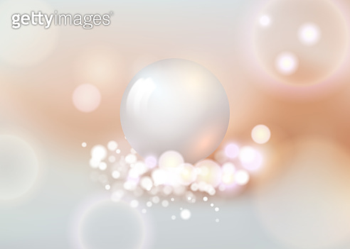 White pearl. White sphere on background. Abstract banner with white ball. Vector illustration, transparencies.