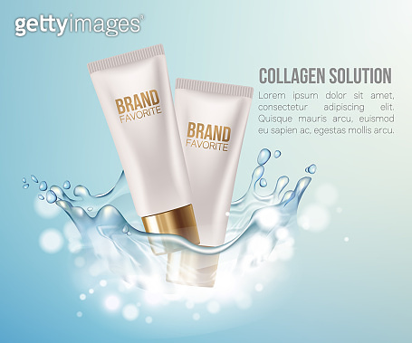 Regeneration cream. Water. Coenzyme Q10. Collagen Serum and Vitamin Background Concept Skin Care Cosmetic. Container mockup, cosmetic bottle package,bank. Elegant Background.