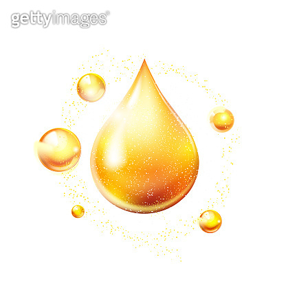 Oil drop gold shining icon. Vitamin. Shining golden substance drop. Vector