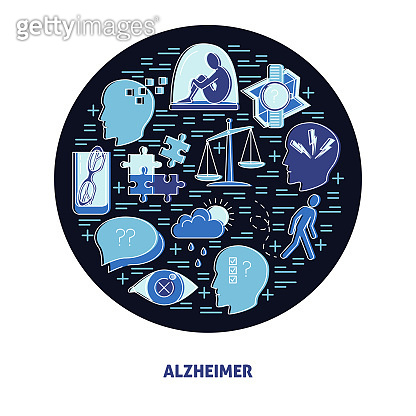 Alzheimer's symptoms round concept in line style