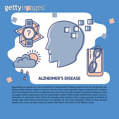 Alzheimer s disease concept banner or poster template in line style