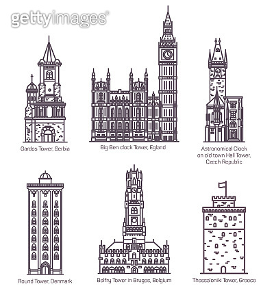 Set of isolated famous castle with landmark towers