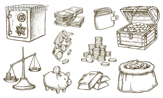 Set of sketch of money and banknotes, wallet