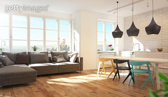Luxury Modern Living Room, 3d rendering illustration