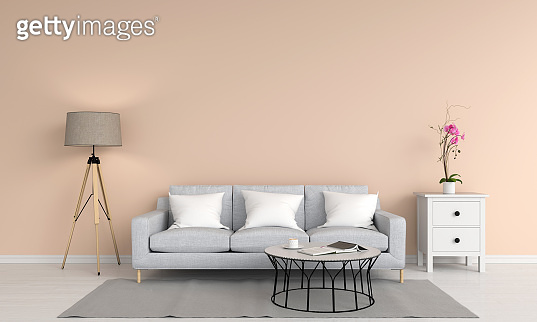Gray sofa in living room, 3D rendering