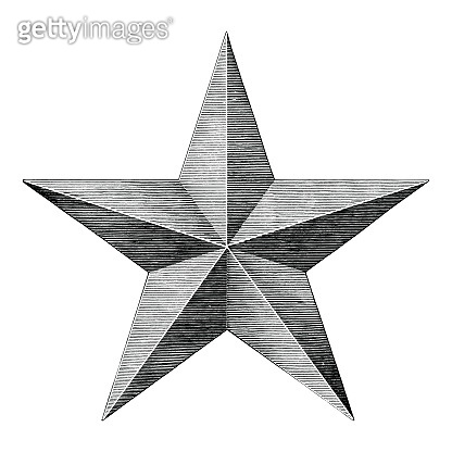 Star hand draw vintage style black and white clip art isolated on white background