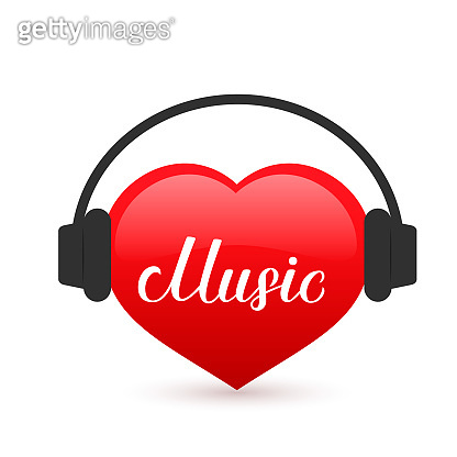 Music calligraphy hand lettering written on a red heart with headphones. Karaoke bar sign. Easy to edit vector template for Musical shop or record studio logo, banner, poster, flyer, sticker, t-shirt.