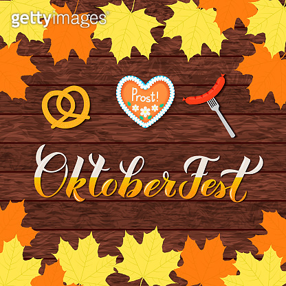 Oktoberfest calligraphy hand lettering on wood background. Traditional Bavarian beer festival. Easy to edit vector template for your logo design,  poster, banner, flyer, invitation, etc.