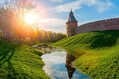 Veliky Novgorod, Russia. Savior Tower of Veliky Novgorod Kremlin, Russia in sunny summer evening