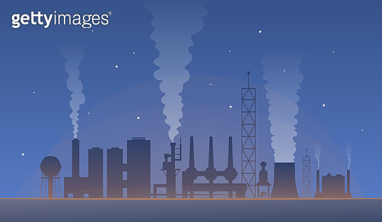industrial landscape with factory pollution. Air polluted environment vector illustration. global warming and city production.