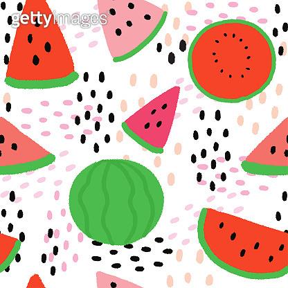 Cartoon cute summer watermelon seamless pattern vector.