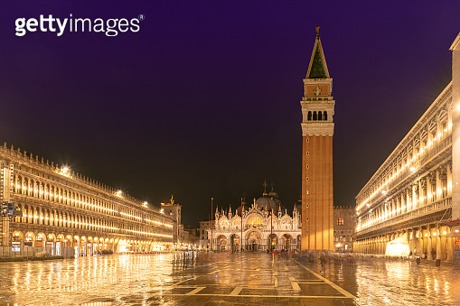 San Marco square at night in Venice, Italy