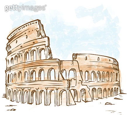watercolor roman colosseum