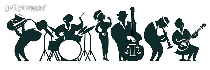 Jazz band silhouettes vector colorful illustration