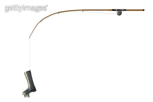 Fishing rod with a gumboot on the hook isolated on white, 3d render.