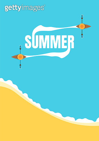 Summer holiday vector poster template with a boat at sea. Symbol of relax, vacation, holiday, traveling. Eps10 vector illustration. - Vector illustration