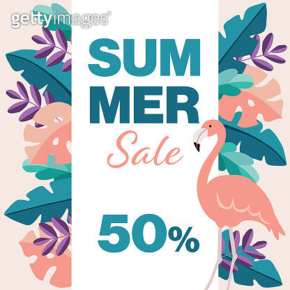 Summer sale, 50% off poster template. Flamingo bird, tropic palm and monstera leaves. Modern flat jungle design. Business promotion concept. Web banner, vector illustration background.