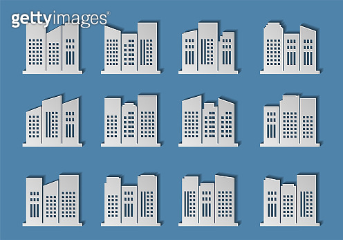 Architecture city vector on blue background, Modern building paper cut design