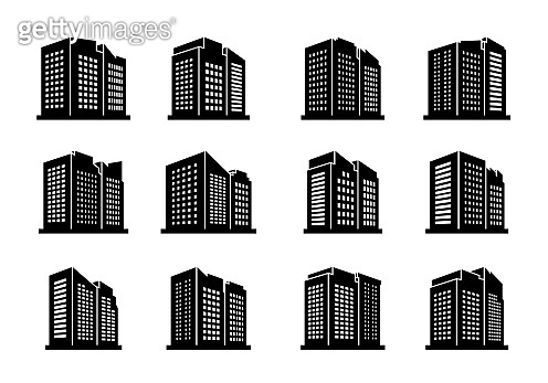 perspective building urban icon on white background, Vector company and bank collection