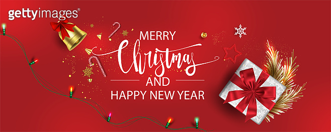 Horizontal Christmas and Happy New Year banner Xmas sparkling lights garland with gifts box greeting cards, headers, website Objects viewed from above. Flat lay,Top view elements for promotion isolate