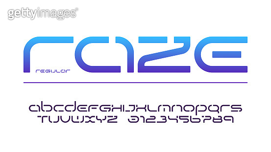 Stencil lowercase letters and numbers, alphabet, typography.