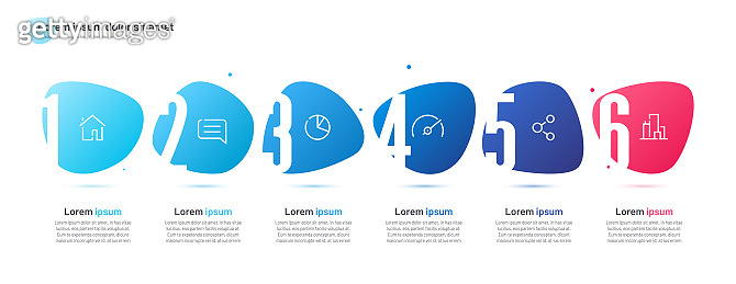 Vector infographic template composed of six numbered abstract shapes