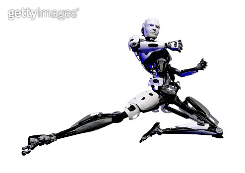 3D illustration male robot on white