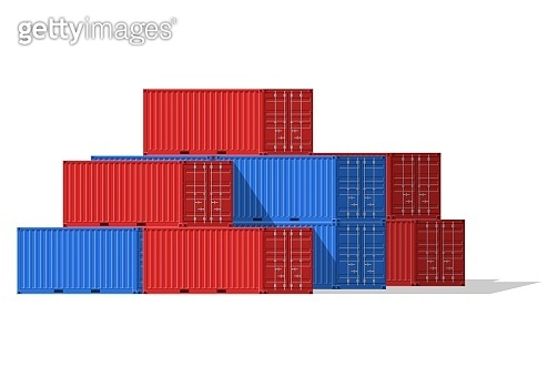 Cargo Containers stack for freight shipping and sea export isolated on white background. Sea Port logistics and transportation