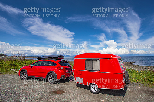 Red car and trailer