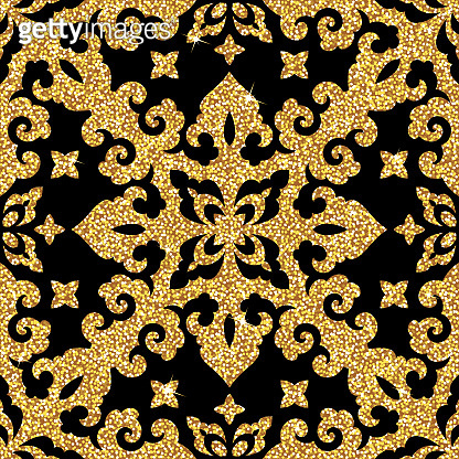 Seamless vector pattern. Traditional asian ornamental motive. Seamless background from a floral oriental golden ornament, fashionable modern wallpaper or textile. Elegant luxury tiled design