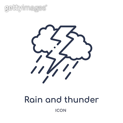 Linear rain and thunder icon from Meteorology outline collection. Thin line rain and thunder icon isolated on white background. rain and thunder trendy illustration
