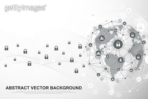 Global network connection background. Cyber security concept global business. Internet communication background. Technology graphic design. Vector illustration.