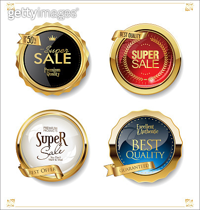 Gold and black retro sale badges and labels collection
