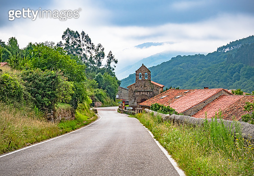 Old church on the Way of St. James. Pilgrimage over the Spain, Europe. Camino de Santiago, camino del Norte
