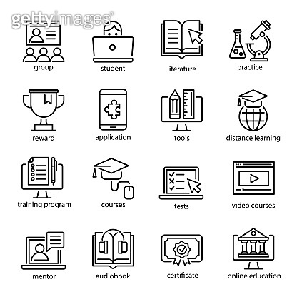 Online education icon set, internet studying course