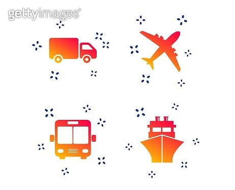 Transport icons. Truck, Airplane, Bus and Ship. Vector