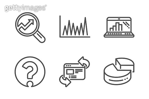 Line graph, Refresh website and Analytics icons set. Question mark, Graph laptop and Pie chart signs. Vector