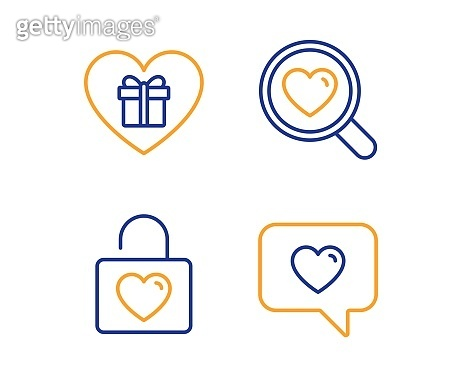 Romantic gift, Search love and Wedding locker icons set. Love message sign. Dating service, Valentines day. Vector