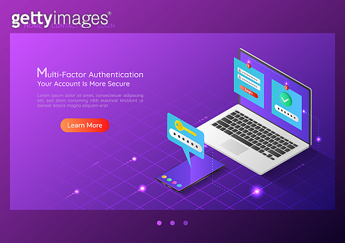 Isometric web banner two steps verification system on laptop and smartphone