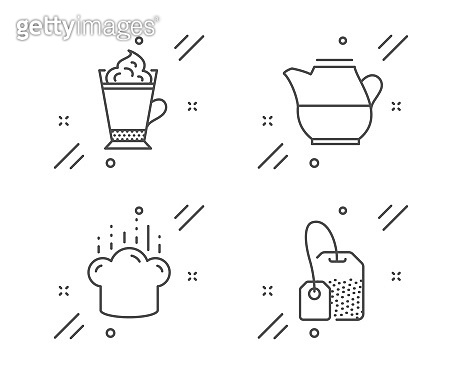 Cooking hat, Milk jug and Latte coffee icons set. Tea bag sign. Vector